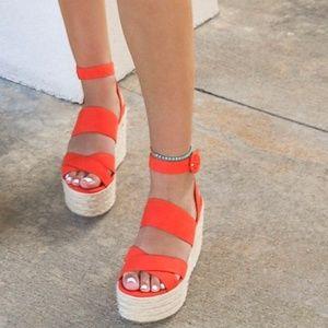 Nine West Kushala Wedge espadrille Sandal orange